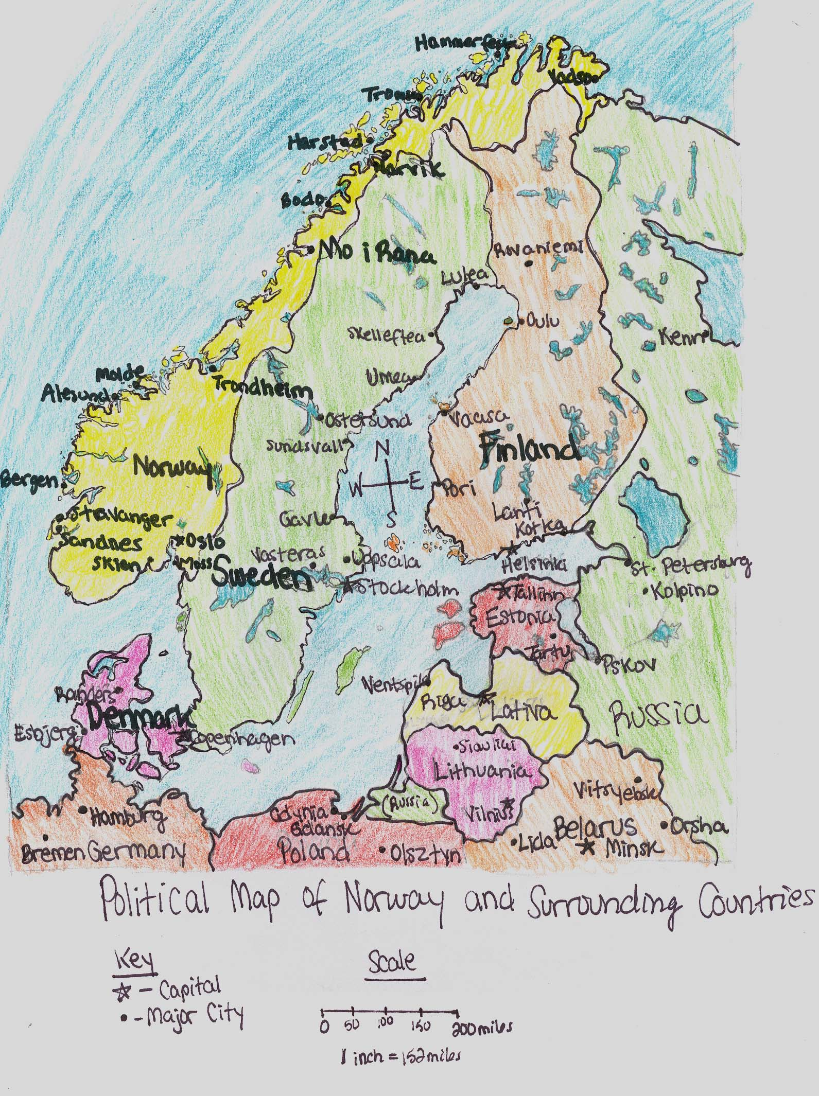 political map of norway and surrounding countries